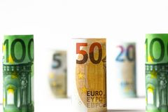 Várias centenas euro- cédulas empilhadas pelo valor Bankn do Euro de Rolls Foto de Stock Royalty Free