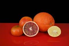 Várias citrinas frescas no tampo da mesa vermelho e no backgrou preto Imagem de Stock Royalty Free
