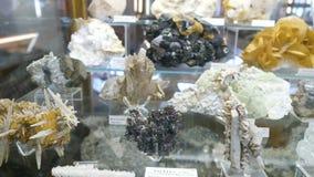Várias coleções de pedras minerais na exposição no museu Museu dos minerais filme
