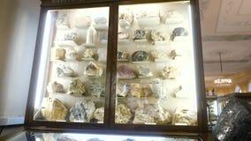 Várias coleções de pedras minerais na exposição no museu Museu dos minerais video estoque