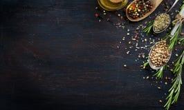 Várias ervas e especiarias na tabela de madeira escura Foto de Stock Royalty Free