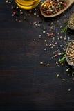 Várias ervas e especiarias na tabela de madeira escura Imagem de Stock