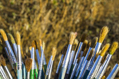 Várias escovas de pintura Imagens de Stock