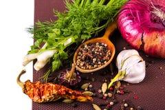 Várias especiarias e ervas, cebola e garlik Imagem de Stock