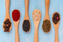 Várias especiarias em colheres de madeira Ingredientes de alimento Tabela de madeira rústica azul Foto de Stock Royalty Free