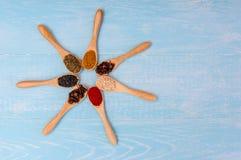 Várias especiarias em colheres de madeira Ingredientes de alimento Tabela de madeira rústica azul Imagens de Stock Royalty Free