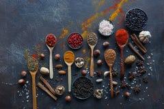 Várias especiarias indianas em colheres e bacias e porcas de madeira do metal na tabela de pedra escura Especiarias coloridas, vi imagem de stock
