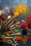 Várias especiarias indianas em colheres e em umas bacias de madeira e de prata do metal, em umas sementes, em umas ervas e em uma fotografia de stock royalty free