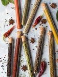 Várias especiarias nos tubos de ensaio de vidro Imagem de Stock