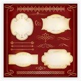 Várias etiquetas e elementos caligráficos do projeto Imagens de Stock Royalty Free