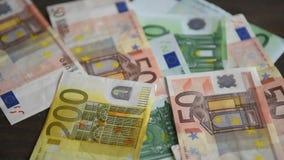 Várias euro- notas de banco filme