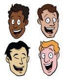 Várias faces masculinas dos desenhos animados Foto de Stock Royalty Free