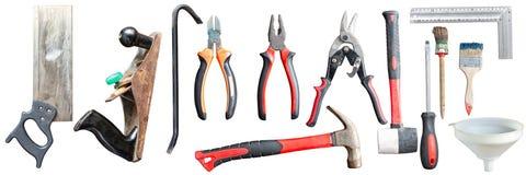 Várias ferramentas da mão velha Isolado foto de stock royalty free