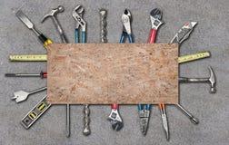 Várias ferramentas usadas no fundo branco Fotografia de Stock