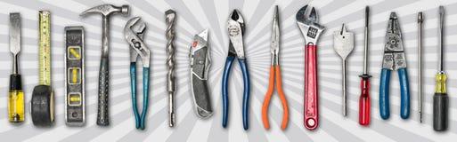 Várias ferramentas usadas no fundo branco Fotos de Stock