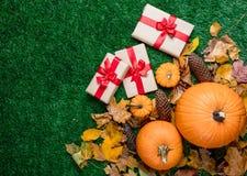 Várias folhas de outono e abóboras alaranjadas com caixas de presente Fotos de Stock