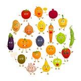 Várias frutas e legumes com mãos e pés da cara emoções Caráter do vetor do alimento ilustração do vetor