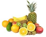 Várias frutas isoladas no fundo branco fotografia de stock