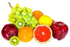 Várias frutas isoladas no fundo branco fotos de stock