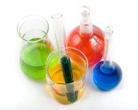 Várias garrafas coloridas fotografia de stock royalty free