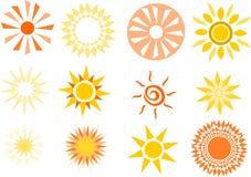 Várias ilustrações simplistas do sol Foto de Stock