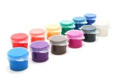 Várias latas da tinta Imagens de Stock