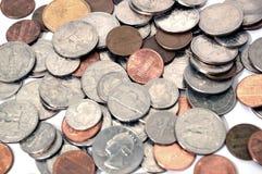 Várias moedas e mudança Foto de Stock