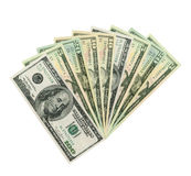 Várias notas de banco do dólar, correcção de programa de grampeamento foto de stock royalty free