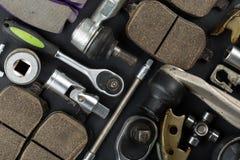 Várias peças e ferramentas do carro fotos de stock