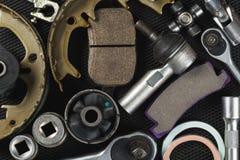Várias peças e ferramentas do carro imagens de stock
