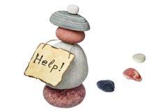 Várias pedras e papel de nota velho Imagens de Stock