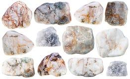 Várias pedras e rochas minerais naturais de mármore Imagens de Stock
