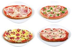 Várias placas da pizza Fotografia de Stock Royalty Free