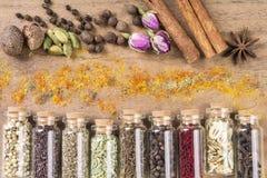 Várias sementes das especiarias Imagens de Stock