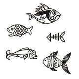Várias silhuetas simples dos peixes no vetor fotografia de stock royalty free