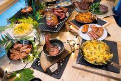 Vário bife fumado Ham Pork da mistura em americano fotos de stock