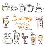 Vário esboçado da bebida ilustração do vetor