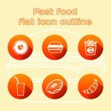 Vário grupo alinhado ícone do fast food e da bebida ilustração royalty free