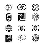 Vário molde do logotipo da letra de G Imagens de Stock Royalty Free