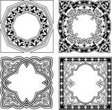 Vário ornamento preto e branco do quadrilátero Fotos de Stock