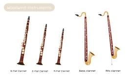Vário tipo dos clarinetes isolados em Backgr branco ilustração do vetor