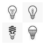 Vários ícones da ampola ilustração stock
