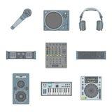 Vários ícones dos dispositivos do som do esboço da cor ajustados Foto de Stock Royalty Free