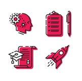 Vários ícones Jogo dos ícones 4 ícones de surpresa para o local e o projeto Sinal, logotipo, emblema para a empresa ilustração royalty free