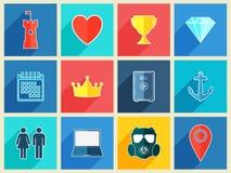 Vários ícones lisos do projeto com efeito de sombra longo ilustração stock