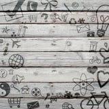 Vários ícones sociais na superfície de madeira velha Imagens de Stock Royalty Free