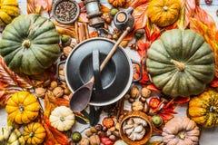Vários abóboras e potenciômetro orgânicos coloridos do cozimento com a colher na mesa de cozinha com porcas, especiarias e folhas foto de stock royalty free