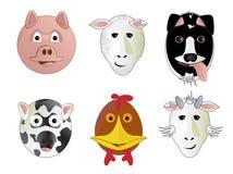 Vários animais de exploração agrícola dos desenhos animados Imagem de Stock