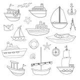 Vários barcos ilustração stock