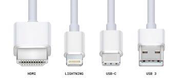 Vários conectores de cabo, HDMi, USB 3, USB-c, relâmpago imagens de stock